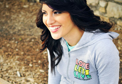 Love Lets Live (Alternate) girl's pro-life Hoody from Abort73.com