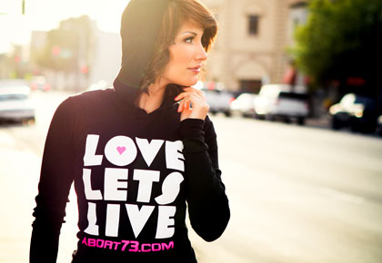 Love Lets Live girl's pro-life Hoody from Abort73.com