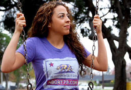 23% Happen in California girl's pro-life T-Shirt from Abort73.com
