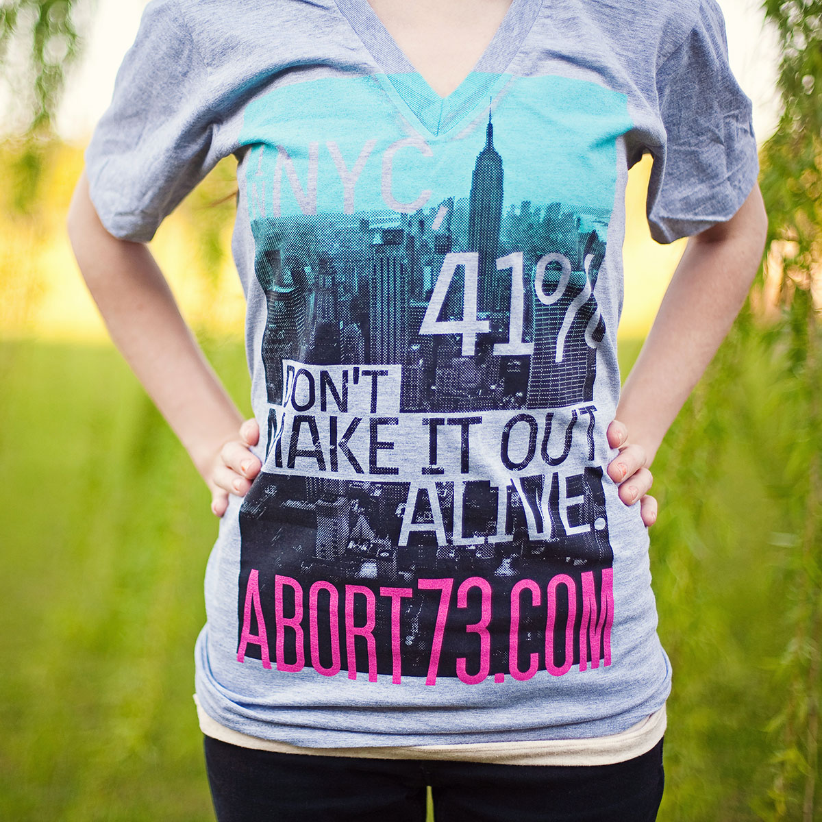 In NYC, 41% Don't Make it Out Alive (Abort73 Unisex V-neck)