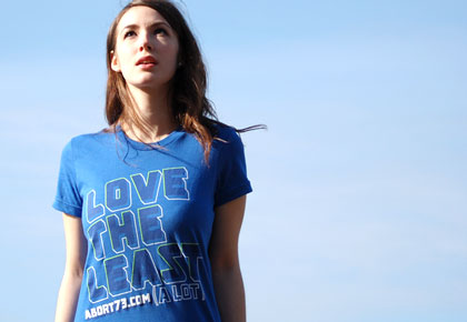 Love the Least (A Lot) girl's pro-life T-Shirt from Abort73.com