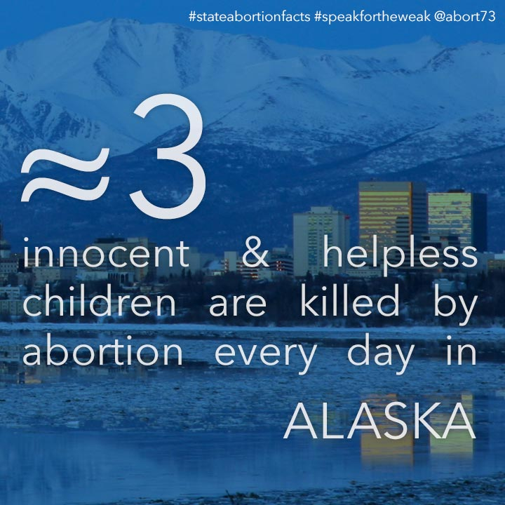 ≈ 3 innocent & helpless children are killed by abortion every day in Alaska