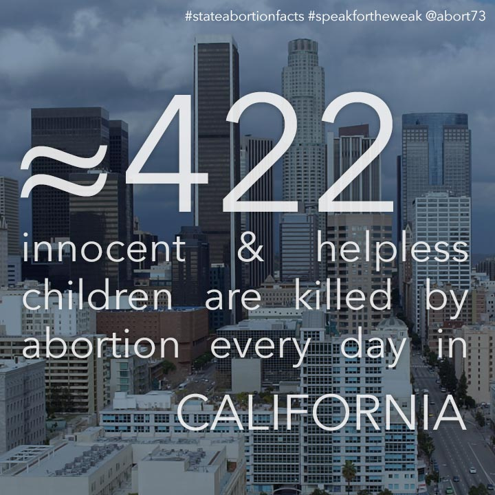 ≈ 431 innocent & helpless children are killed by abortion every day in California
