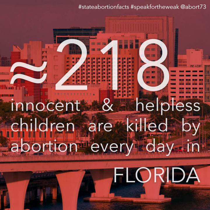 ≈ 192 innocent & helpless children are killed by abortion every day in Florida
