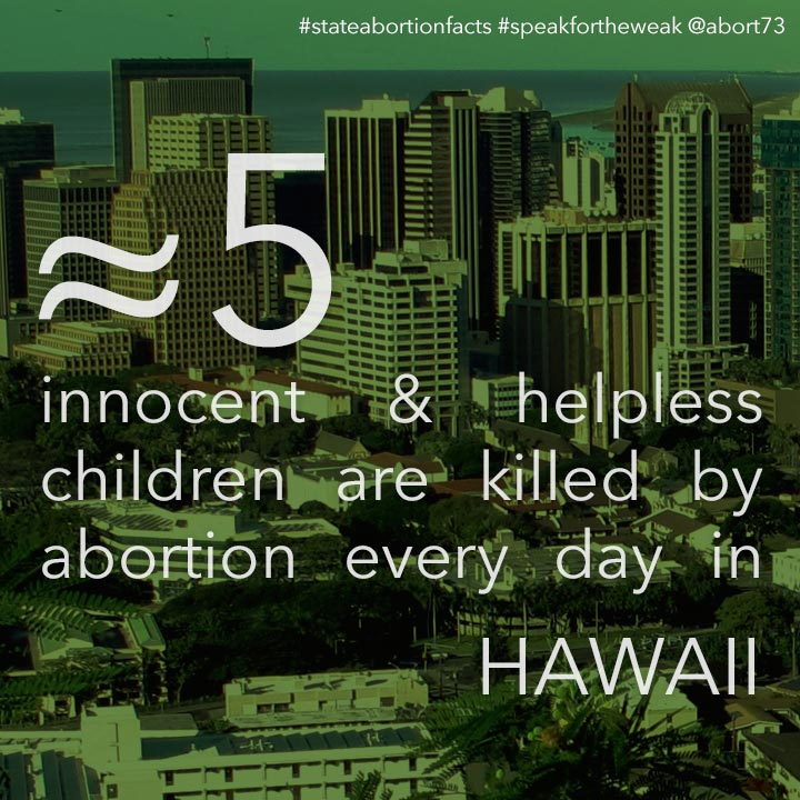 ≈ 6 innocent & helpless children are killed by abortion every day in Hawaii