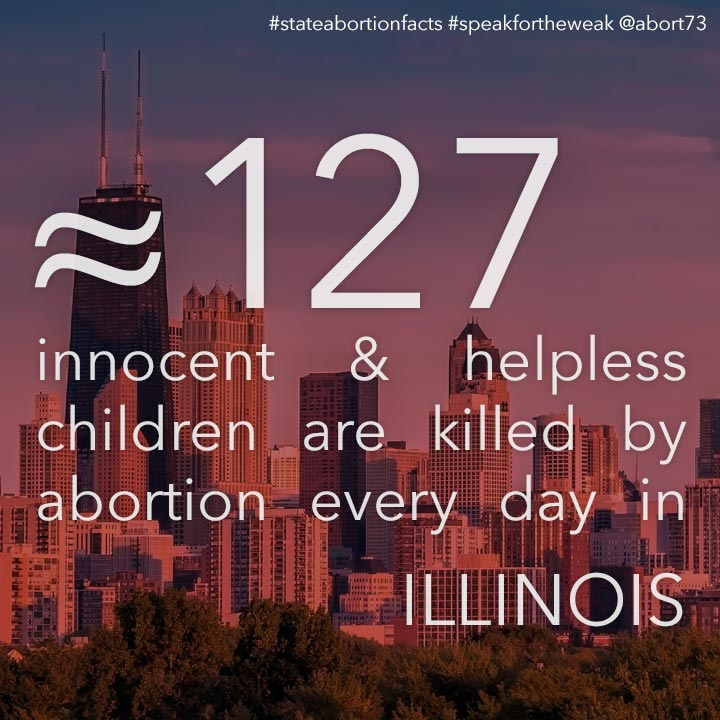 ≈ 105 innocent & helpless children are killed by abortion every day in Illinois