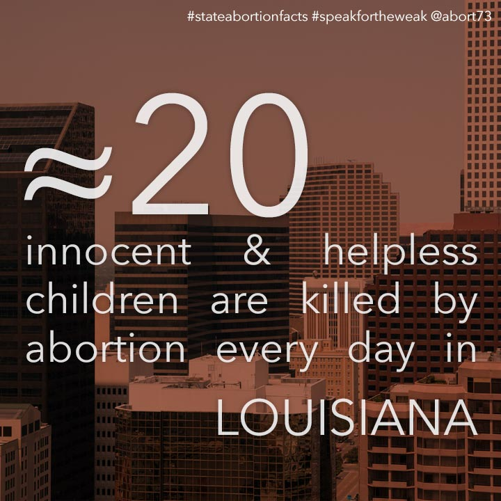 ≈ 24 innocent & helpless children are killed by abortion every day in Louisiana