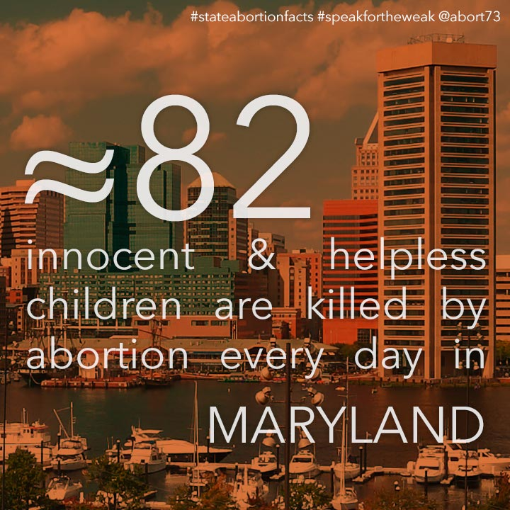 ≈ 77 innocent & helpless children are killed by abortion every day in Maryland
