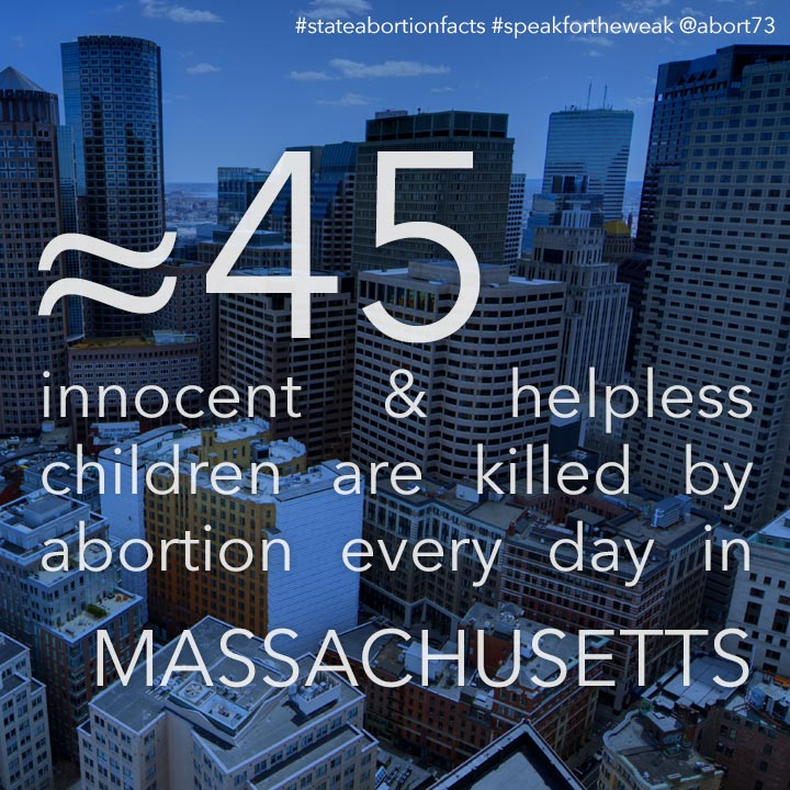 ≈ 50 innocent & helpless children are killed by abortion every day in Massachusetts