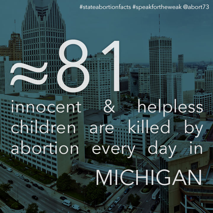 ≈ 72 innocent & helpless children are killed by abortion every day in Michigan
