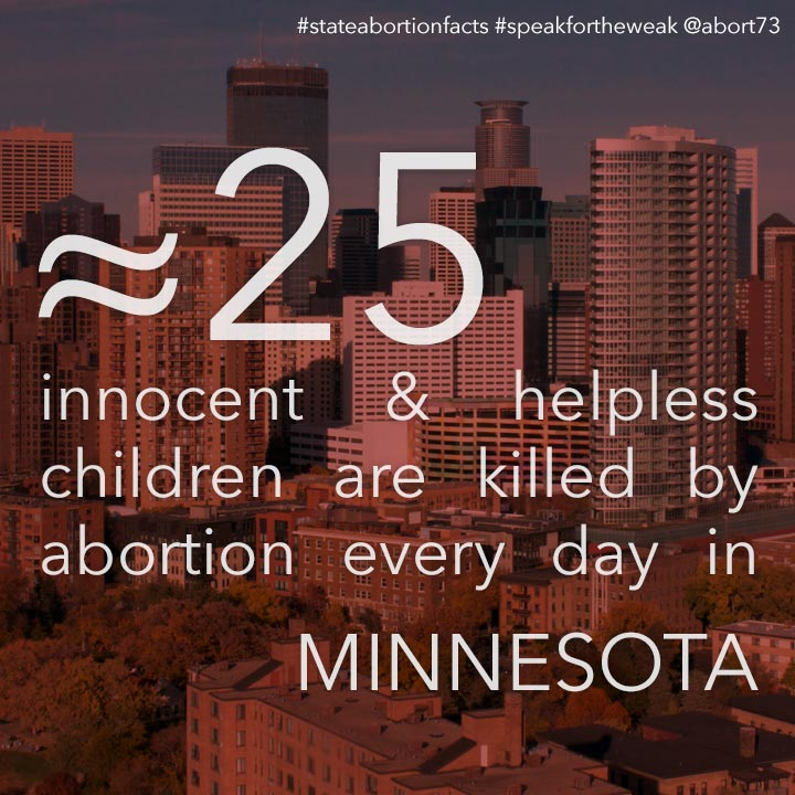 ≈ 28 innocent & helpless children are killed by abortion every day in Minnesota