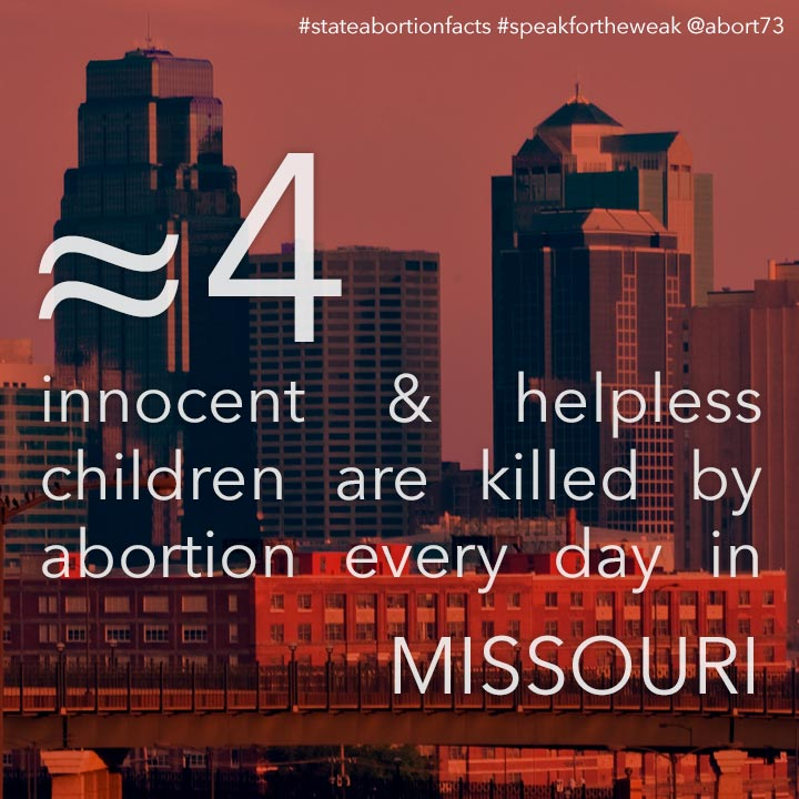 ≈ 11 innocent & helpless children are killed by abortion every day in Missouri