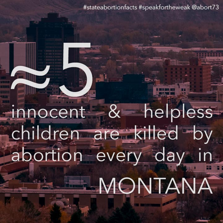 ≈ 5 innocent & helpless children are killed by abortion every day in Montana