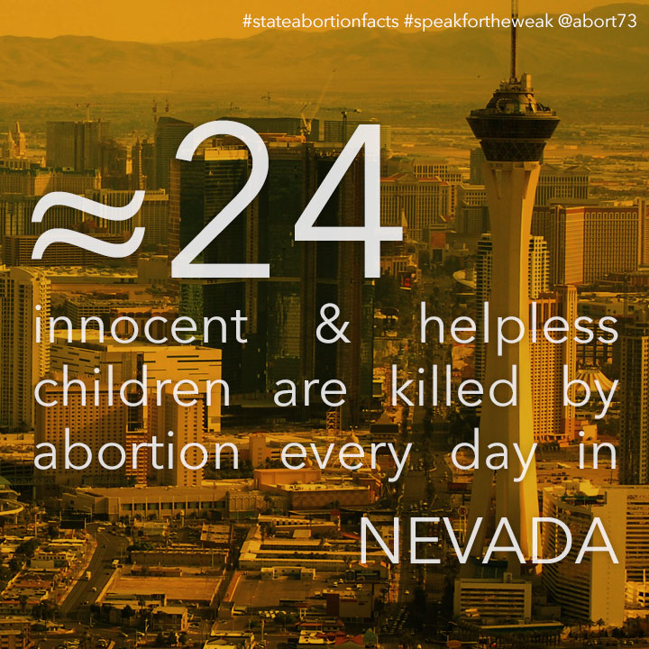 ≈ 20 innocent & helpless children are killed by abortion every day in Nevada