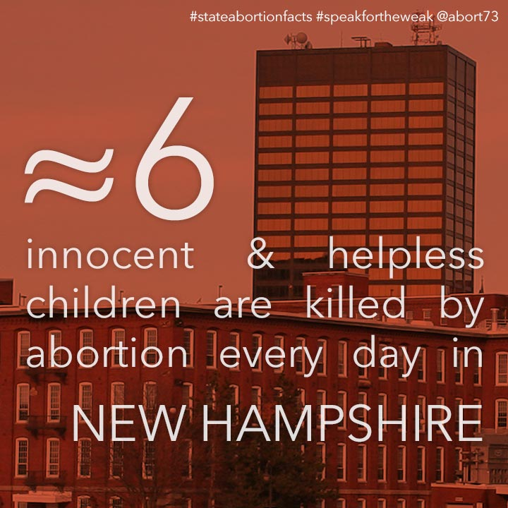 ≈ 6 innocent & helpless children are killed by abortion every day in New Hampshire