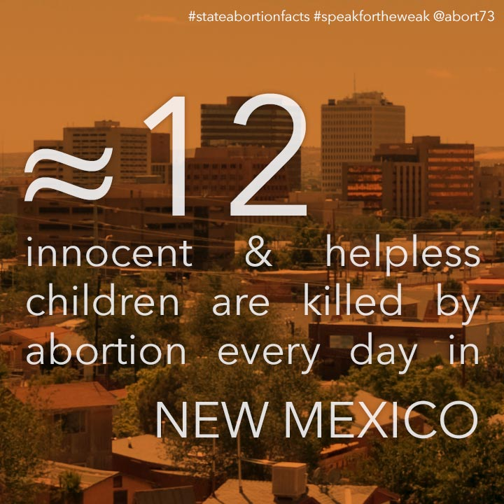 ≈ 13 innocent & helpless children are killed by abortion every day in New Mexico