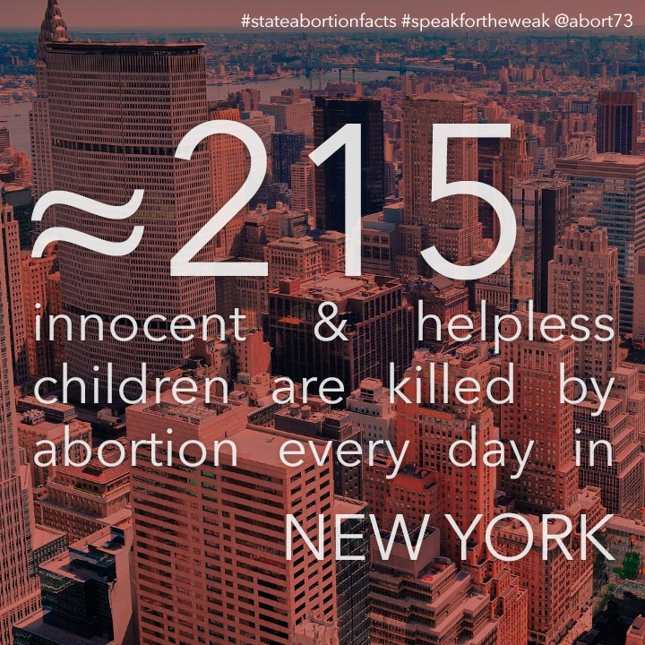 ≈ 289 innocent & helpless children are killed by abortion every day in New York
