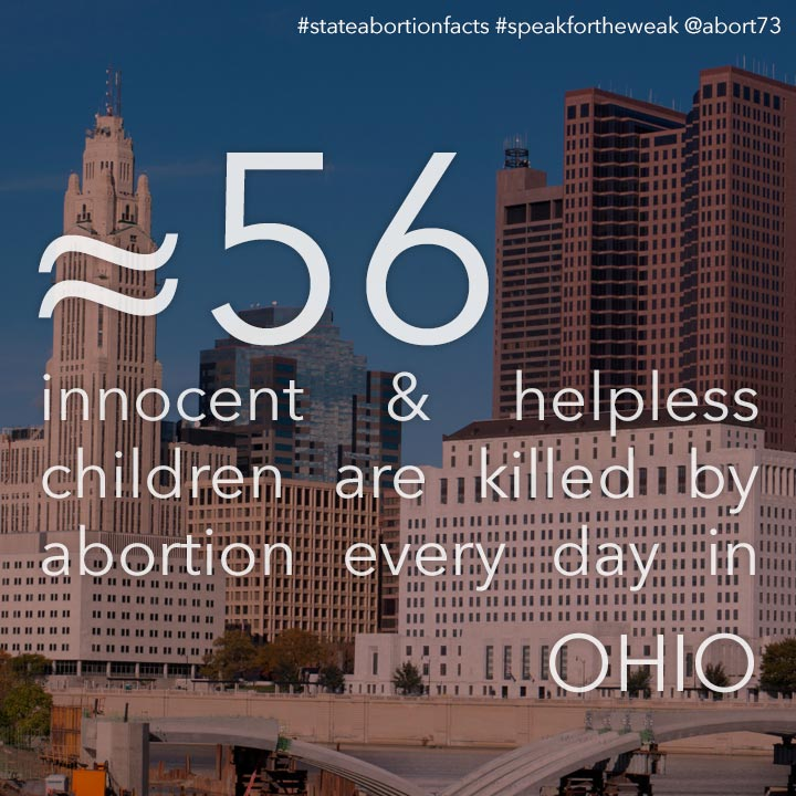 ≈ 57 innocent & helpless children are killed by abortion every day in Ohio