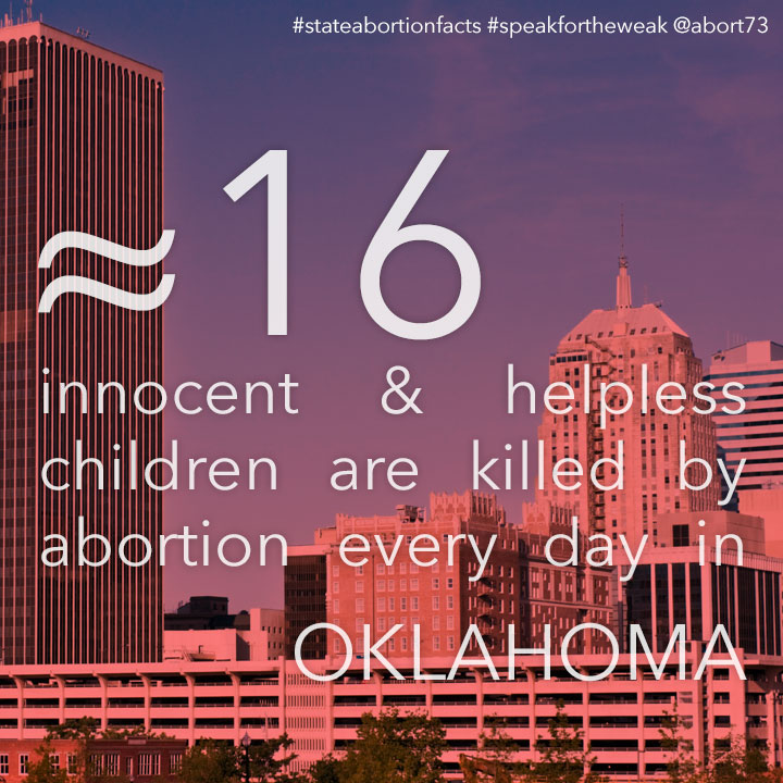 ≈ 13 innocent & helpless children are killed by abortion every day in Oklahoma