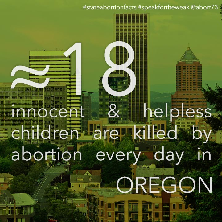 ≈ 23 innocent & helpless children are killed by abortion every day in Oregon