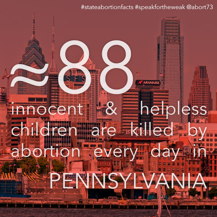 ≈ 83 innocent & helpless children are killed by abortion every day in Pennsylvania