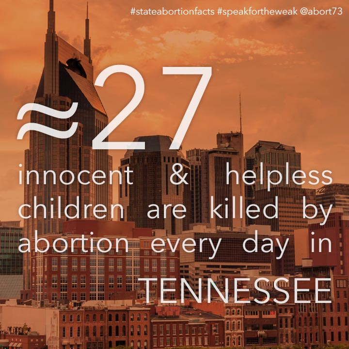 ≈ 30 innocent & helpless children are killed by abortion every day in Tennessee