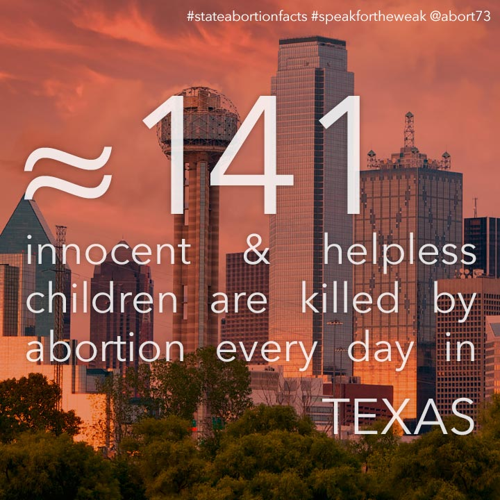 ≈ 150 innocent & helpless children are killed by abortion every day in Texas