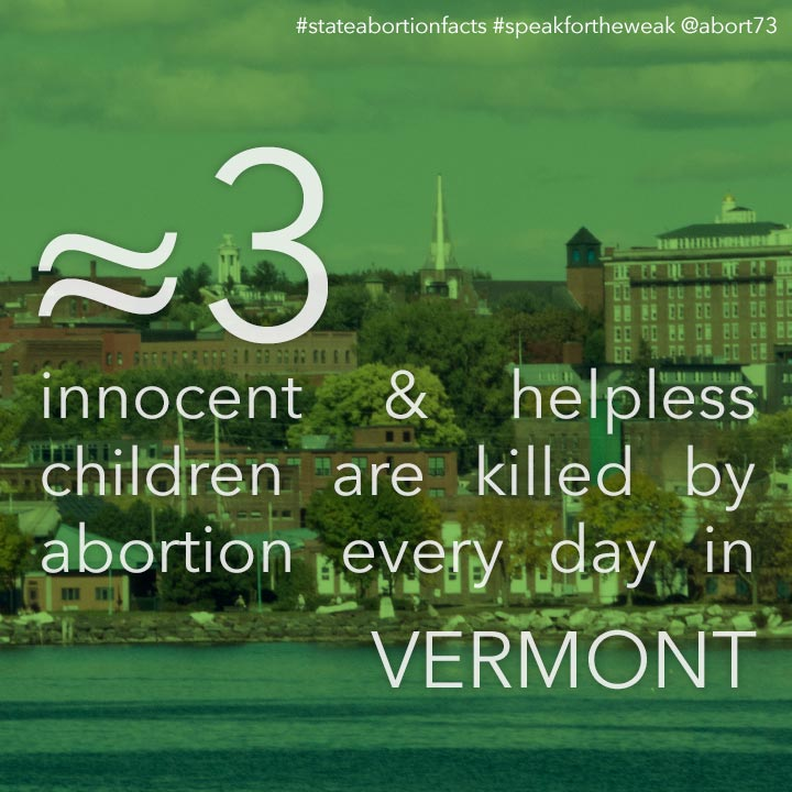 ≈ 4 innocent & helpless children are killed by abortion every day in Vermont