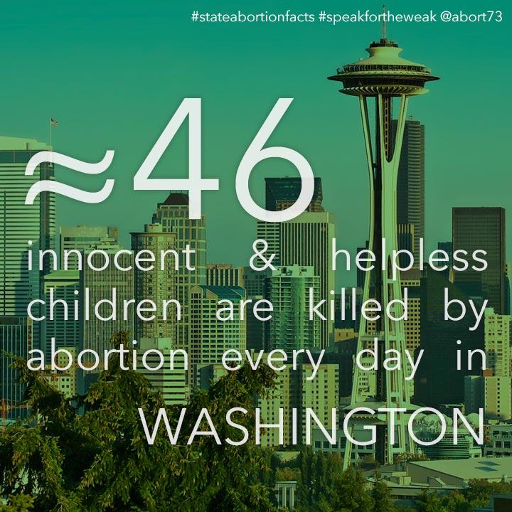 ≈ 47 innocent & helpless children are killed by abortion every day in Washington