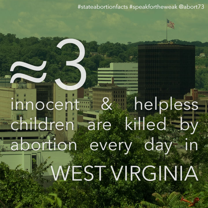 ≈ 4 innocent & helpless children are killed by abortion every day in West Virginia